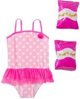 Jump N Splash Toddler Girls' Pink Polka Dot Skirted One Piece Swimsuit w/ Free Floaties (2T3T) - 8143046