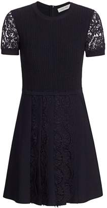Valentino Short-Sleeve Lace Fit-&-Flare Dress