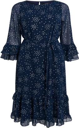 Evans Navy Foil Polka Dot Frill Dress