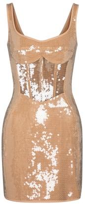 David Koma Sequined corset minidress