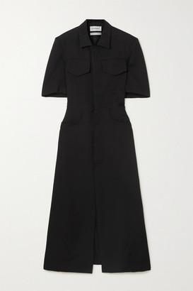 Situationist Twill Midi Shirt Dress - Black