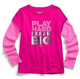 "Champion Girl's ""Play Hard, Dream Big"" Hangdown Long-Sleeve Tee"