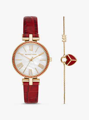 Michael Kors Maci Gold-Tone and Embossed Leather Watch and Bracelet Set