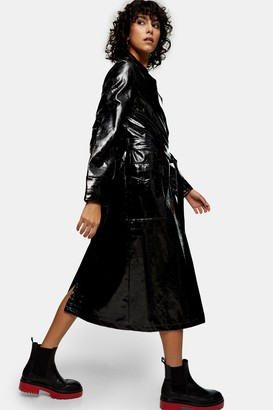 Topshop Womens Black Patent Pu Crocodile Trench Coat - Black