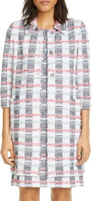 St. John Stripe Tweed Knit Longline Jacket