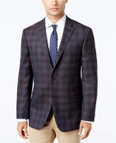Vince Camuto Men's Slim-Fit Brown/Blue Plaid Wool Sport Coat