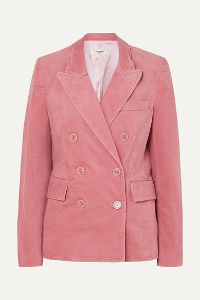 Etoile Isabel Marant Alsey Double-breasted Stretch-cotton Velvet Blazer - Pink