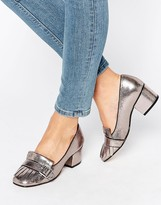 Office Monty Buckle Fringe Metallic Mid Heeled Loafers