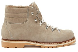 Montelliana Marlo Shearling-lined Suede Boots - Mens - Grey