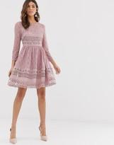 Asos Design DESIGN premium lace mini skater dress
