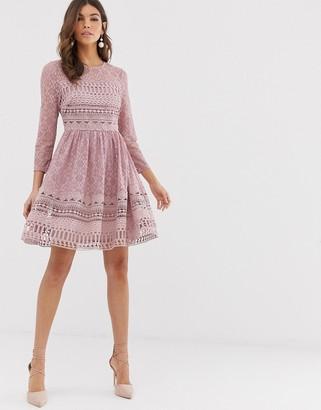 Asos Design DESIGN premium lace mini skater dress-Pink