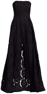 Halston Women's Strapless Lace Jacquard Skirt Overlay Jumpsuit