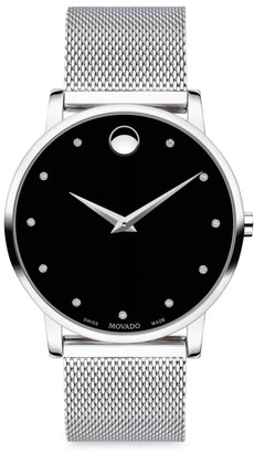 Movado Museum Classic Stainless Steel Mesh & Diamond Bracelet Watch