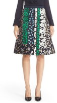 Oscar de la Renta Satin & Jacquard Patchwork Skirt