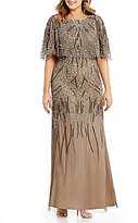 Adrianna Papell Plus Beaded Capelet Gown