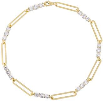 Adina's Jewels Cubic Zirconia Paper Clip Anklet