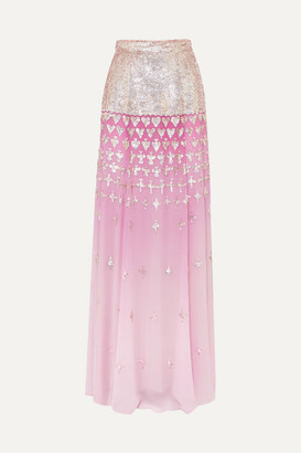 Temperley London Mirela Degrade Sequin-embellished Chiffon Maxi Skirt - Pink