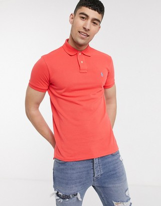 Polo Ralph Lauren player logo slim fit pique polo in washed red