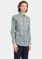 Fendi Men's Garden Print Long Sleeved Shirt In Blue