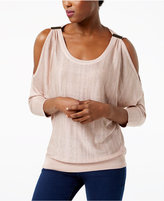INC International Concepts Cold-Shoulder Shine Sweater, Created for Macy's