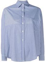 Vince Stripe Convertible Long Sleeve Shirt - women - Cotton - 2