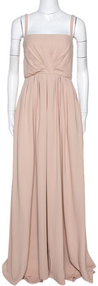 Valentino Beige Silk Pleated Sleeveless Maxi Dress M