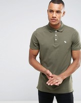 Abercrombie & Fitch Polo Muscle Slim Fit Stretch Pique In Green