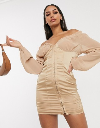 Femme Luxe plunge front off shoulder mini dress with bell sleeves in champagne
