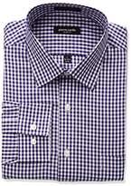 Pierre Cardin Men's Plaid Or Check Slim Fit Semi Spread Collar Dress Shirt
