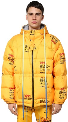 Off-White Printed Techno Puffer Jacket W/ Hood