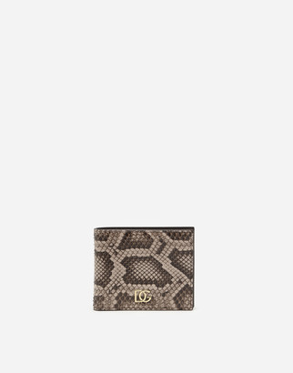Dolce & Gabbana Python Leather Bifold Wallet With Crossover Logo