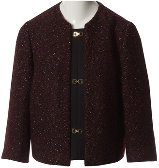 Salvatore Ferragamo Burgundy Tweed Jackets