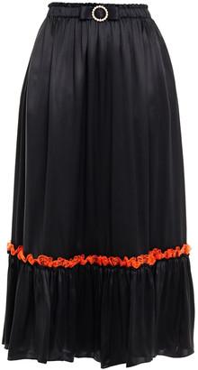 Shrimps Lace-trimmed Embellished Silk-satin Skirt