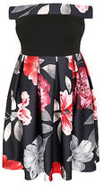 Yours Clothing YoursClothing Plus Size Womens Floral Bardot Skater Dress Short Sleeve Ladies