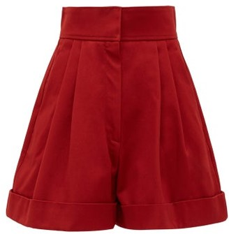 Françoise Francoise - High-waist Pleated Cotton Shorts - Womens - Burgundy