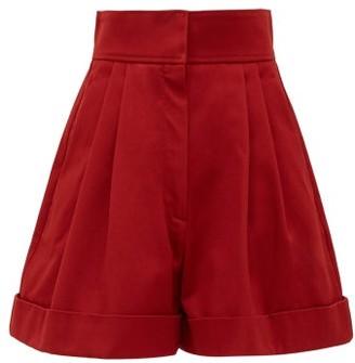 Francoise - High-waist Pleated Cotton Shorts - Burgundy