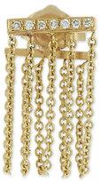 Sydney Evan Jewelry Bar Chain Single Stud Earring w/Pavé; Diamonds