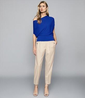Reiss Meryl - Asymmetric Knitted Top in Cobalt Blue
