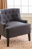Caroline Charcoal Tufted Fabric Armchair