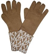Michael Kors Women's Logo Knit Cuffed Gloves, Camel / Cream
