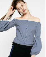 Express striped button front off the shoulder cotton blouse
