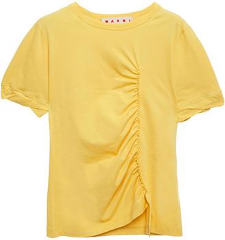 Marni Ruched Cotton-jersey T-shirt