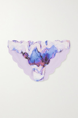 Marysia Swim Antibes Reversible Scalloped Printed Stretch-crepe Bikini Briefs - Lilac
