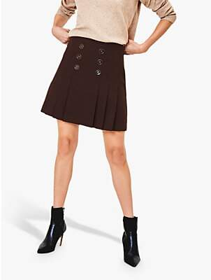 Oasis Button Kilt Skirt, Dark Brown