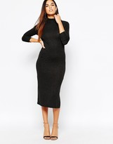 Warehouse Turtleneck Column Midi Dress