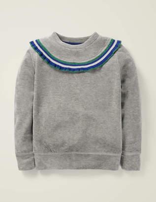 Boden Ruffle Neck Velour Sweatshirt
