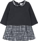 Jean Bourget Grid Plaid Print Dress