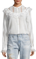 McQ by Alexander McQueen Pintuck Ruffled Cotton Shirt, White