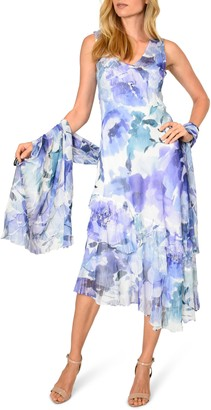 Komarov Tiered Chiffon Cocktail Dress with Shawl