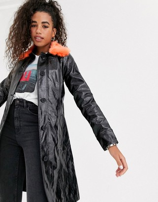 Pepe Jeans faux leather trench coat with faux fur collar
